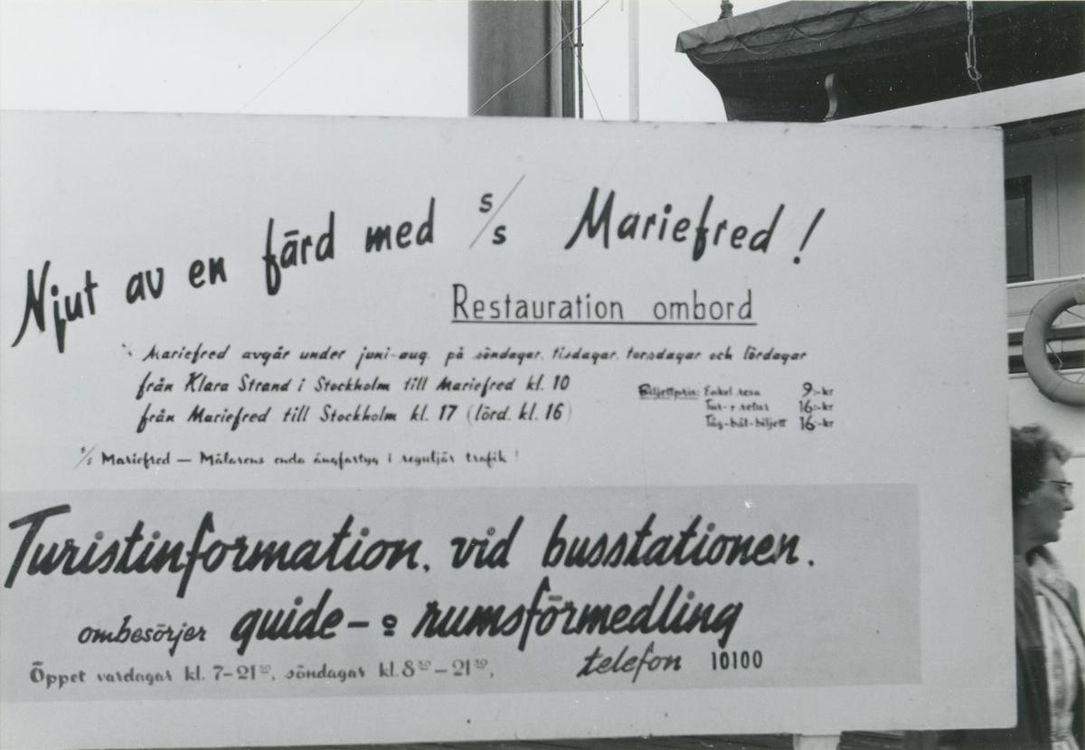 Informationsskylt för S/S Mariefred