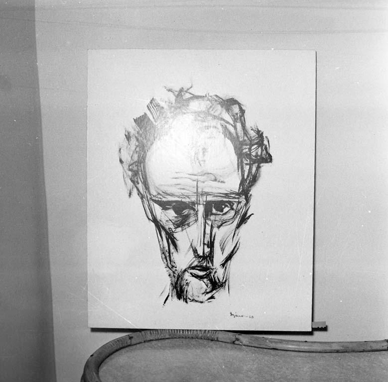 Självporträtt gjort av Kurt Dejmo signerat 1960, troligen en tuschstudie. Galleri Nyttokonst, Uddevalla
