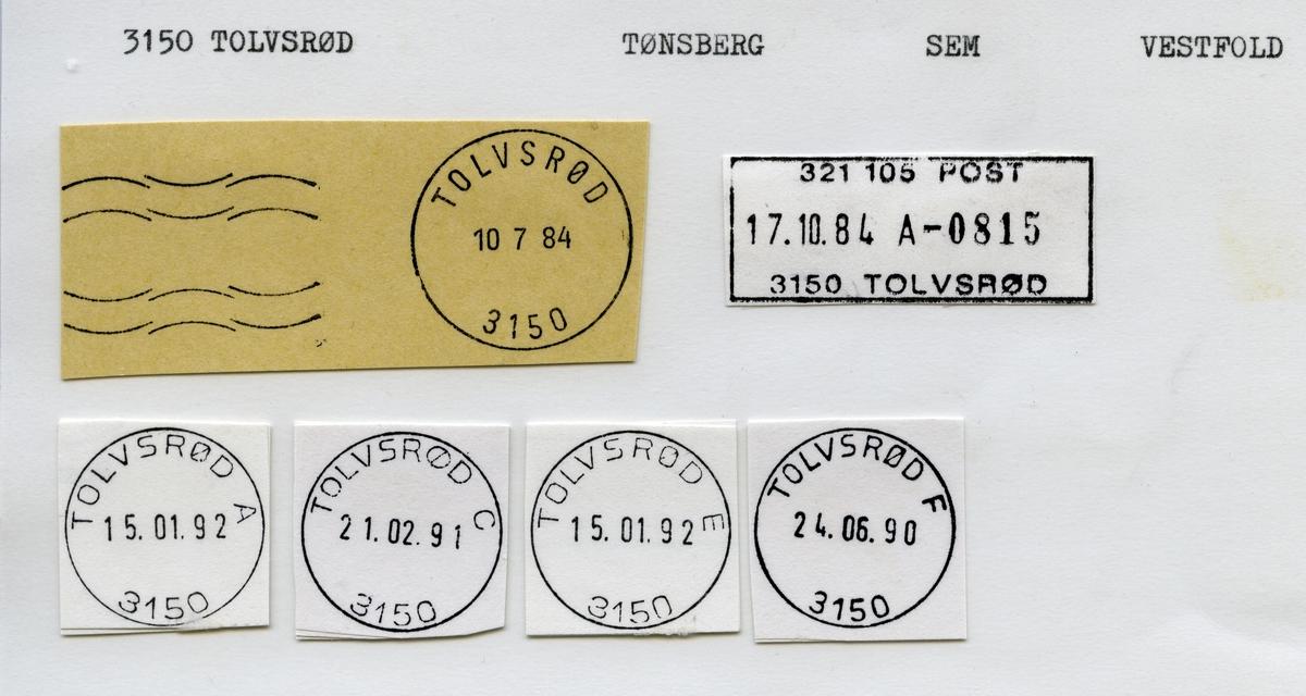 Stempelkatalog 3150 Tolvsrød, Tønsberg, Sem, Vestfold