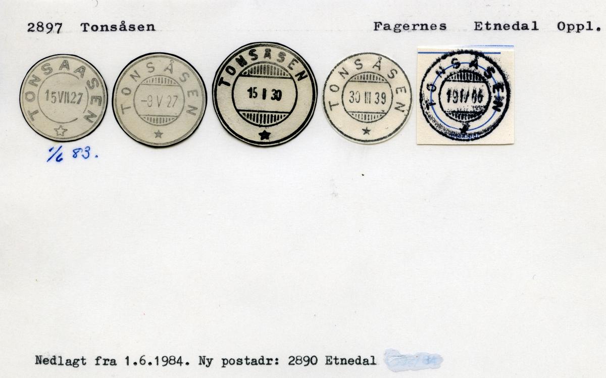 Stempelkatalog 2897 Tonsåsen, Gjøvik, Etnedal, Oppland