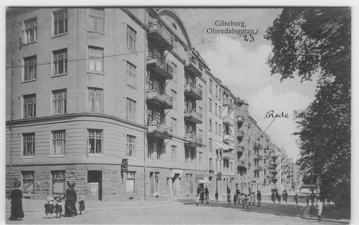 Huset, Olivedalsgatan No.23, en pil där boet av talgoxen tillvaratagits. Fynddatum: 1915-03-15.