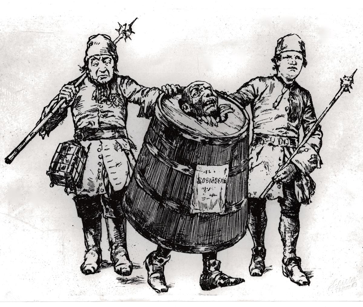 Tegning av en forbryter som avstraffes med spansk kappe