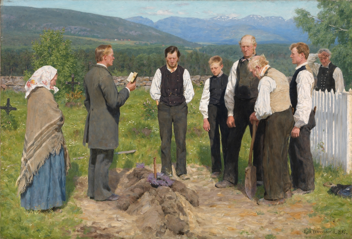 En bondebegravelse [Maleri]