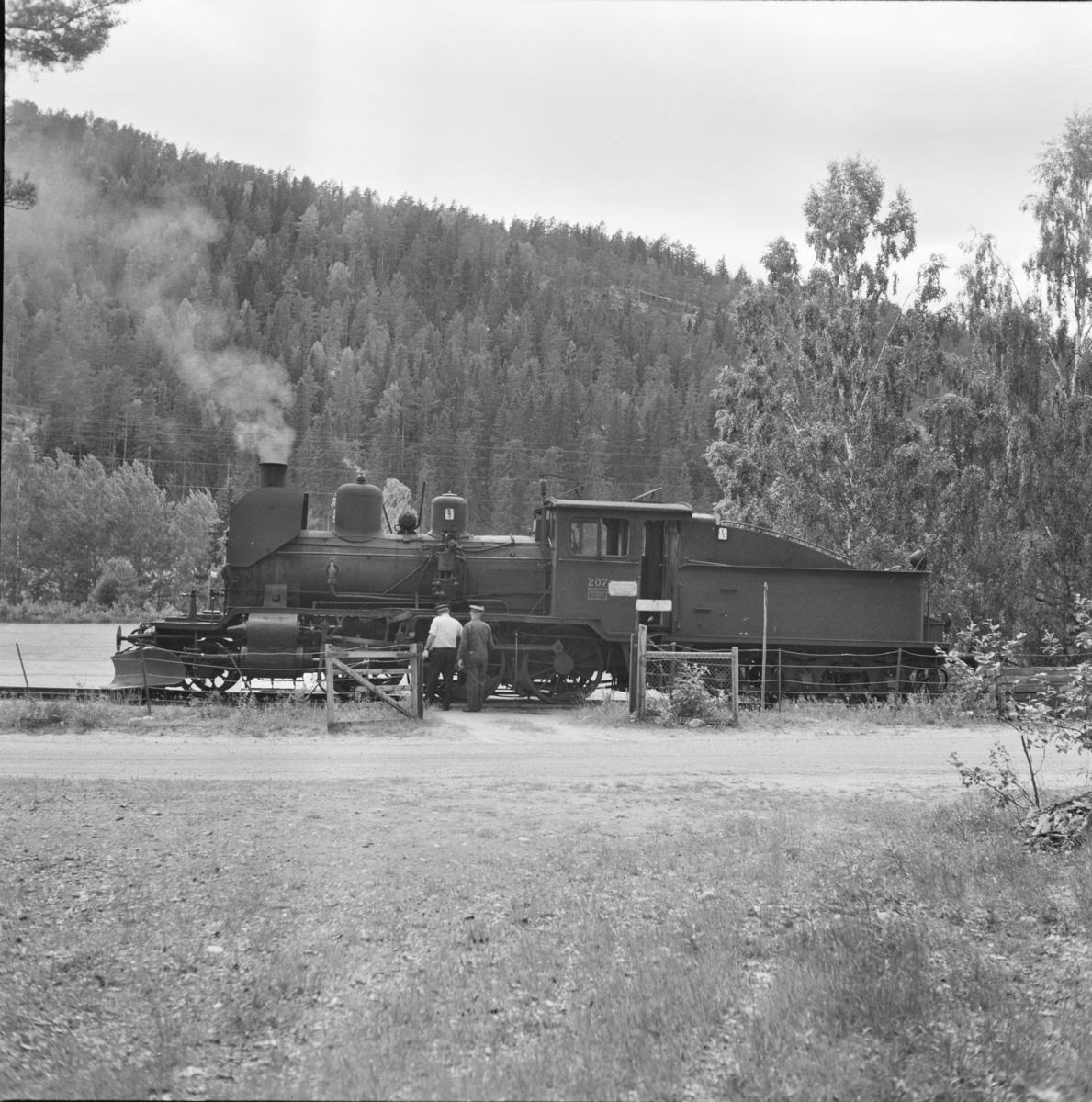 Damplokomotiv 21e 207 på Flesberg stasjon på Numedalsbanen.