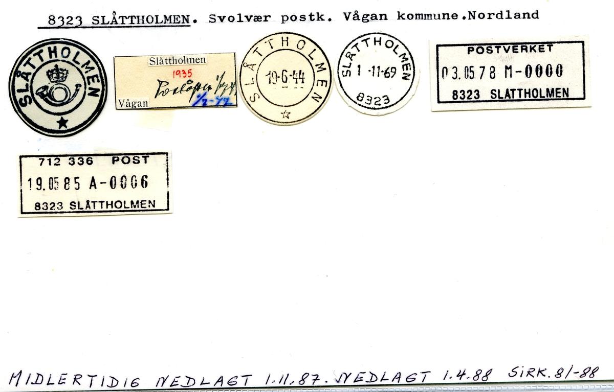 Stempelkatalog 8323 Slåttholmen, Vågan kommune, Nordland
