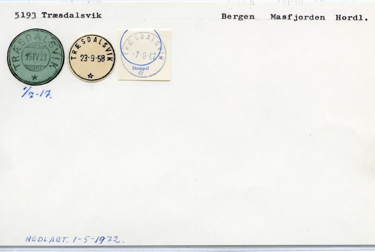 Stempelkatalog 5193 Træsdalsvik, Bergen, Masfjorden, Hordaland