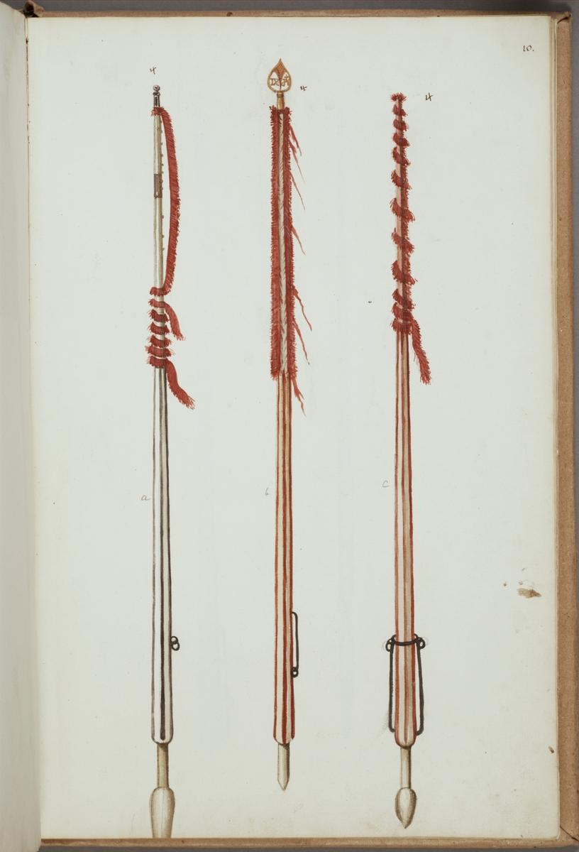 Avbildning i gouache föreställande fälttecken taget som trofé av svenska armén. De avbildade standarstängerna finns delvis bevarade i Armémuseums samling, för mer information, se relaterade objekt.