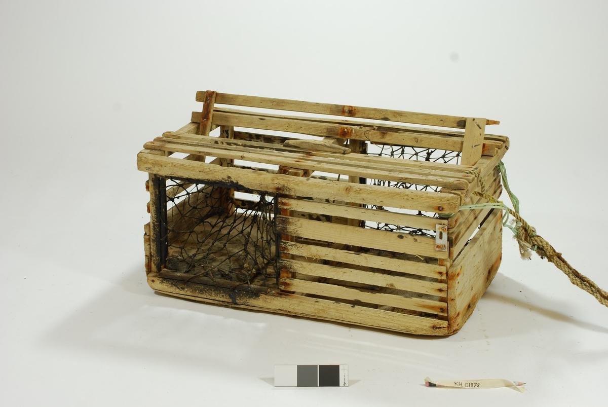 Typisk eksempel på kasse-tene, hvor original fiskekasse er benyttet som fangstfelle. Kort og kompakt kasse med bunn av gammel utrangert fiskekasse. Horisontale lekter overfor selve kassebordene. Grovt hjemmelaget garn av nylontau med tverrknuter - et sjeldent fenomen!  En inngang på hver langside. Ingen fangstkammer.  Agnpinne av grov metalltråd.   Kalven: Et tynnere tau er festet til garnet i kalven tversgående, før å gjøre maskene mindre. Kalvene er impregnert med tjære, trolig for å gjøre tauet mørkt slik at hummeren går inn. Kalvene er festet til åpningen med en lekte. Garnet festet rundt en lekte som deretter er spikret fast i tena. Metallringer i kalveåpningene.   Lokk av to lekter. Lukkeåpning; moderne skyvepatent med vrider. Skyvemekanisme; skyves bort og vippes opp.  En liten metallplate er festet vertikalt over to lekter, - uvisst hvorfor. Støpt betonghelle i hver ende, dekker hele bredden. E.V. risset inn i den ene.   Komplett tauverk med væler. Tau i naturfiber. Festet til tena med syntetisk tau. Ekstra tau flettet inn i nederste del for å gi tauet flytekapasitet.  Væle: malt hvit med en rød stripe ca. 10 cm fra bunnen. Bunnplata malt rød. E.V. skåret inn i treverket på det hvite feltet. Spiss ende med hull til tau.  Tolver og sekser væler: 1) 4 korkbiter. Festet til tauet med blått syntetisk tau. Malt helt hvit, men rød i bunnen. 2) 6 korkbiter. Hvitmalte, rød i enden. Festet til tau med tau i naturfiber.