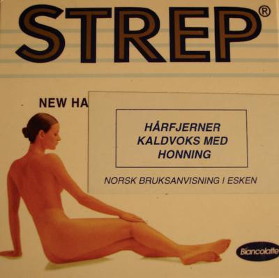 STREP, hårfjerner med kaldvoks, fra Kvinnemuseets samlinger