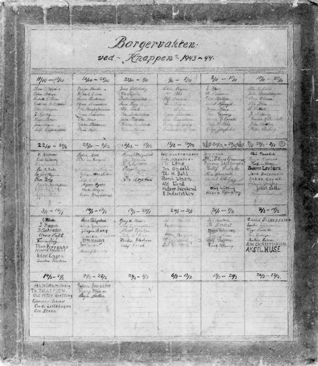 Borgervaktliste ved Knappen 1943-1944