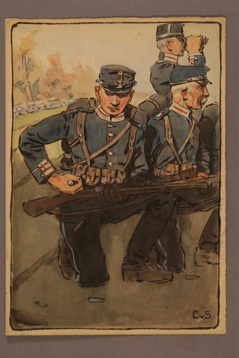 Plansch med uniform för Första Livgrenadjärregementet, ritad av Einar von Strokirch.