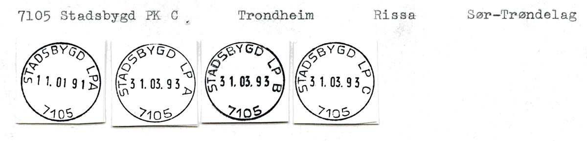 Stempelkatalog  7105 Stadsbygd, Rissa kommune, Sør Trøndelag