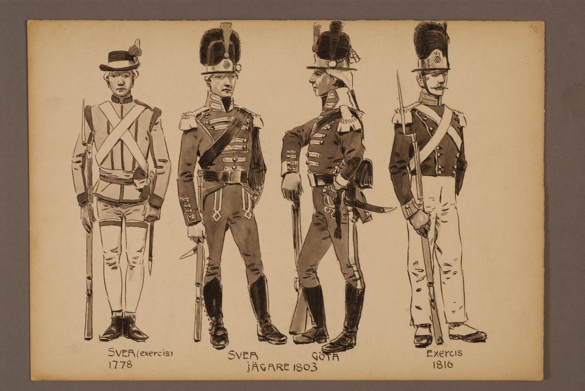 Plansch med uniform för Svea livgarde och Göta livgarde för, ritad av Einar von Strokirch.