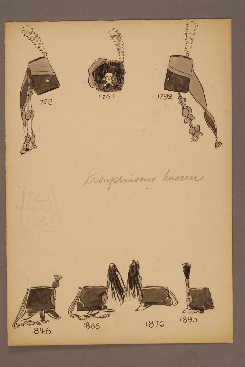 Plansch med huvudbonader för Kronprinsens husarregemente för åren 1758-1893, ritad av Einar von Strokirch.