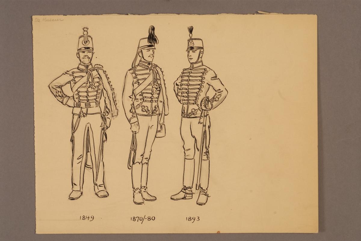 Plansch med uniform för Skånska husarregemente för åren 1849-1893, ritad av Einar von Strokirch.
