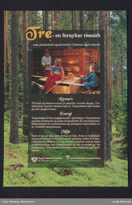 Skog, samt barn som snekrer.