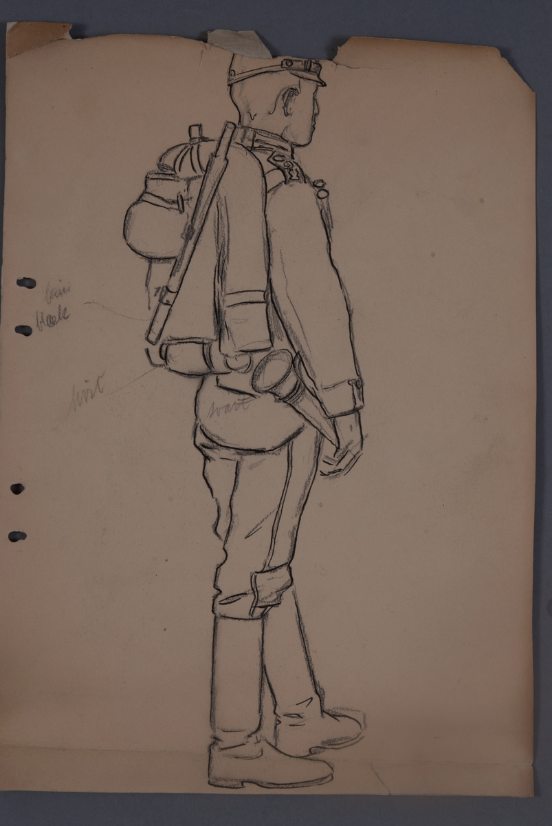 Plansch med uniform för Livregementets husarkår, ritad av Einar von Strokrich.