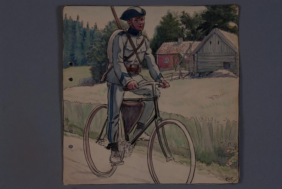Plansch med uniform för Livregementets husarkår, ritad av Einar von Strokrich. Soldat på cykel.