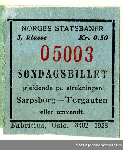 Søndagsbillett Sarpsborg-Torgauten, 3. klasse