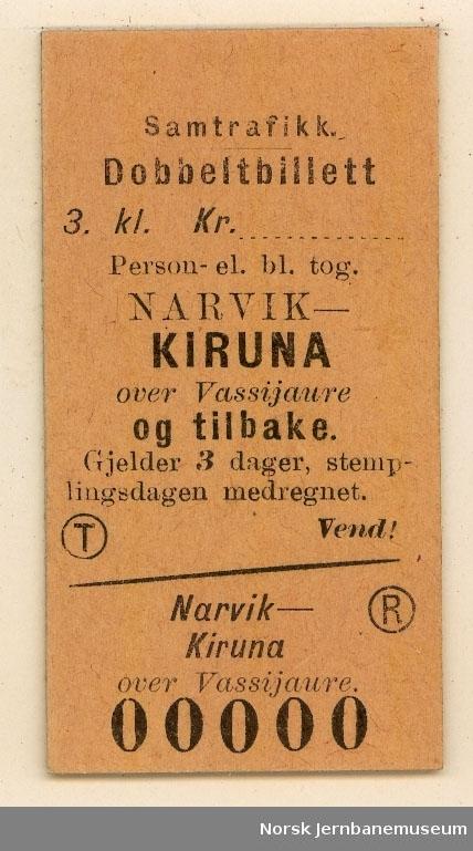 Tur/returbillett Narvik-Kiruna, 3. klasse, ubrukt