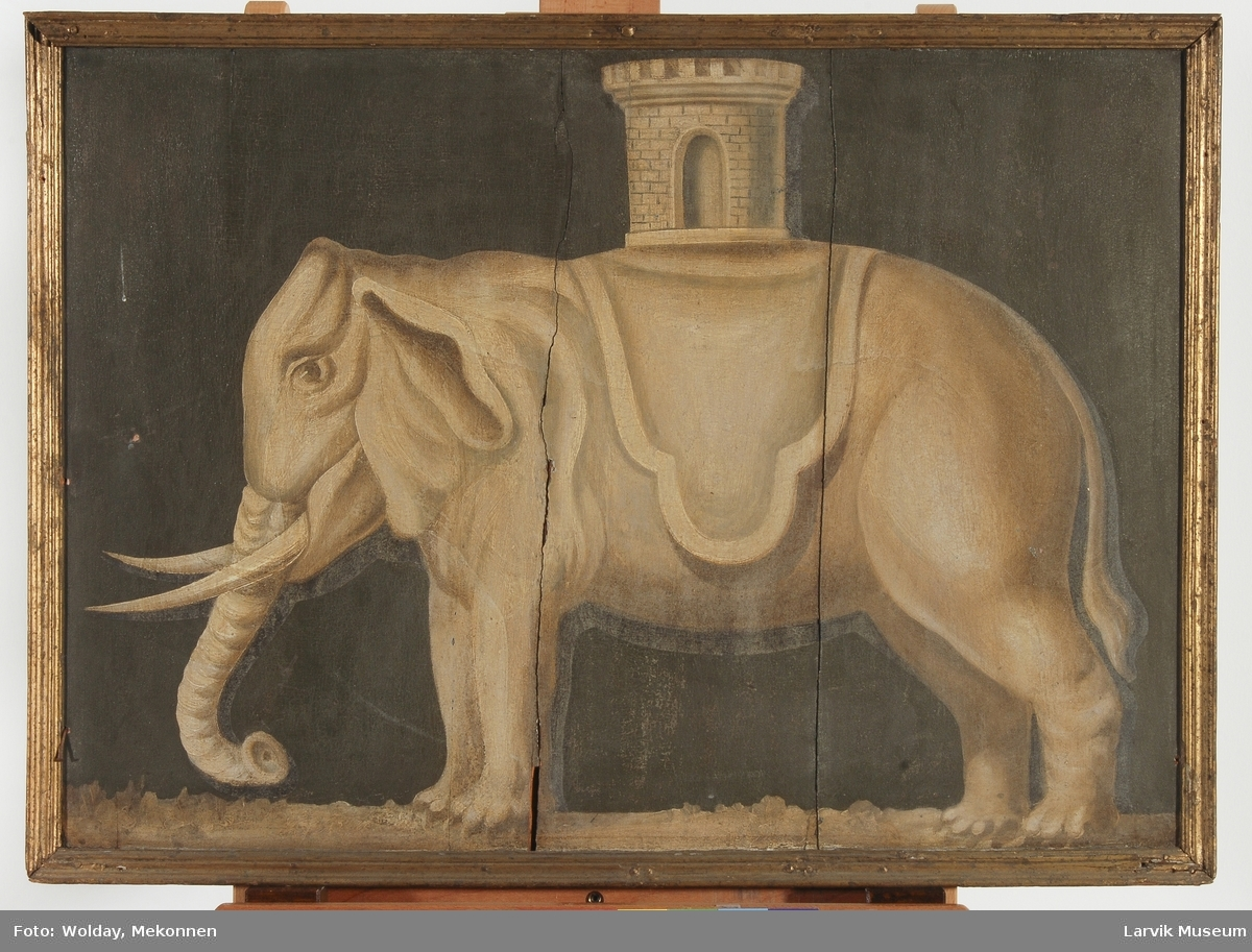 Gulbrun elefant, bærende et tårn på brun bunn,