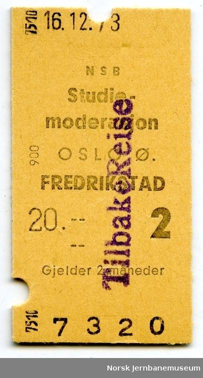Billett Oslo Ø-Fredrikstad, 2. kl., studiemoderasjon, maskinbillett