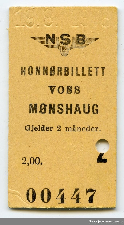 Billett Voss-Mønshaug, honnør