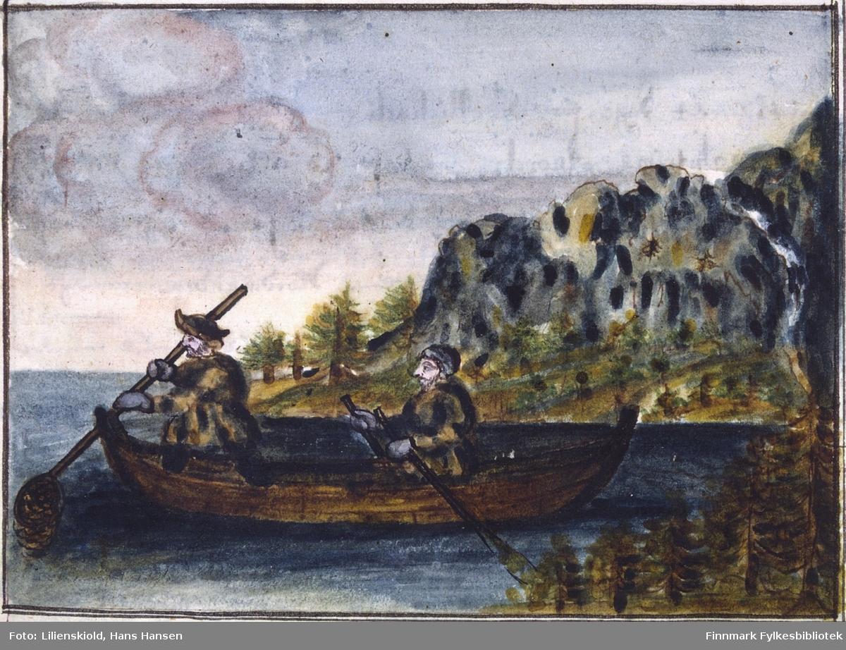 To fiskere i båt. Den ene ror, den andre fisker. Illustrasjon til kapittel om arbeidslyst og arbeidsvaner hos Finnmarks befolkning