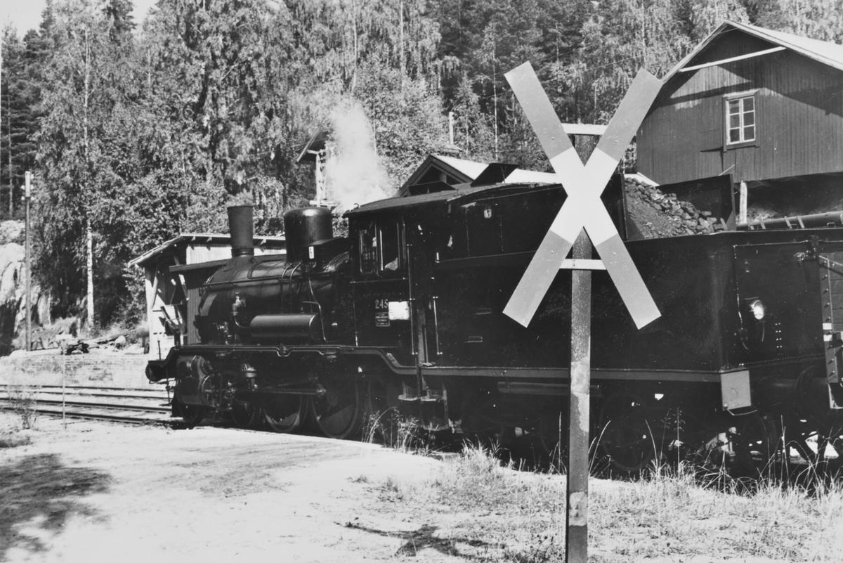 A/L Hølandsbanens veterantog til Krøderen har ankommet Morud stasjon. Toget trekkes av damplokomotiv 18c 245.
