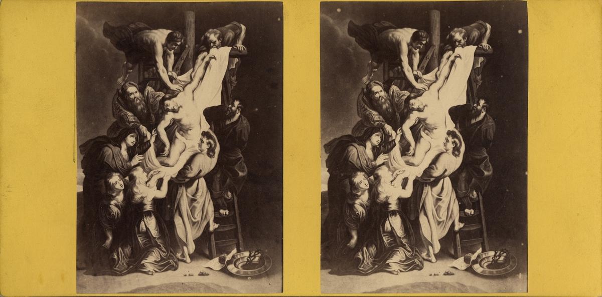 Stereobild med religiöst motiv, Jesus tas ner från korset.