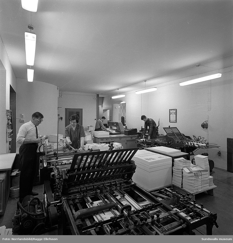 Boktryckeri AB (senare Tryckeribolaget), interiörbilder från verksamheten i bokbinderiet.