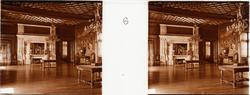 """Stereobild  av stora mottagningssalen i Chateau de Pau. """"Gr"""