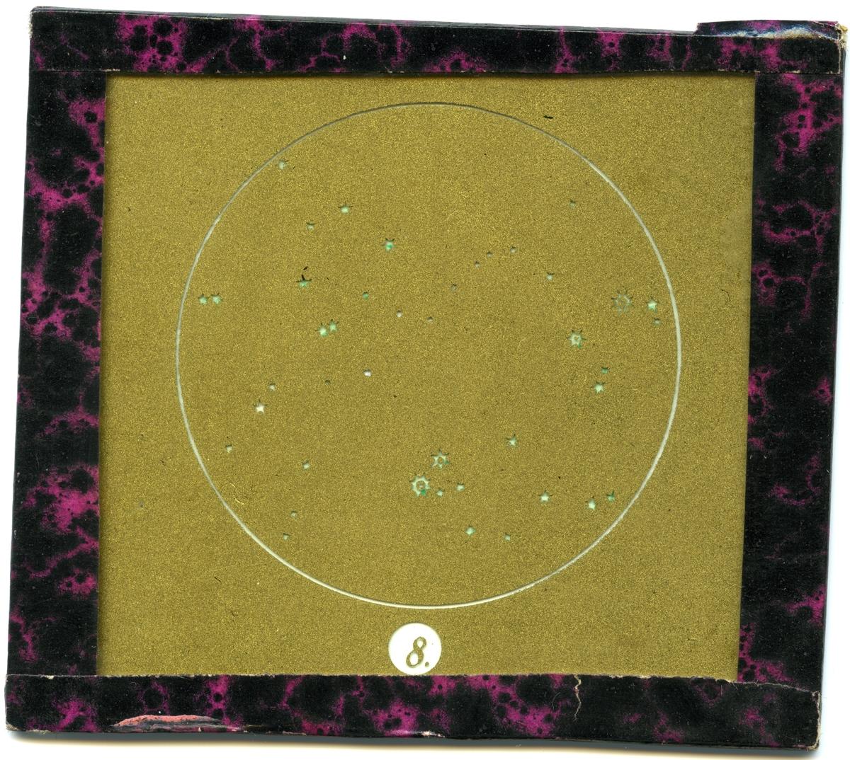 Målad bild på glas för skioptikon/laterna magica.  Bild av stjärnhimlen.