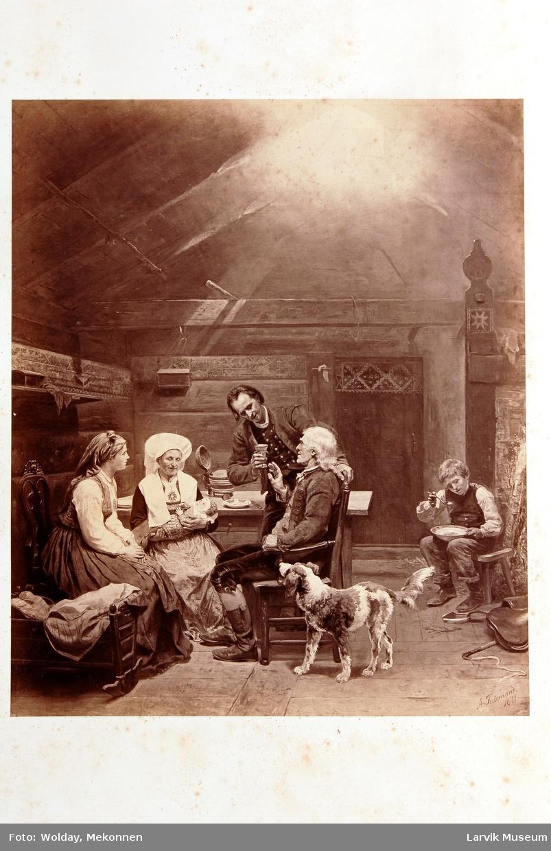 bondeinteriør, måltid, 6 personer og en hund fotografisk trykk av maleri av A. Tidemand 1871