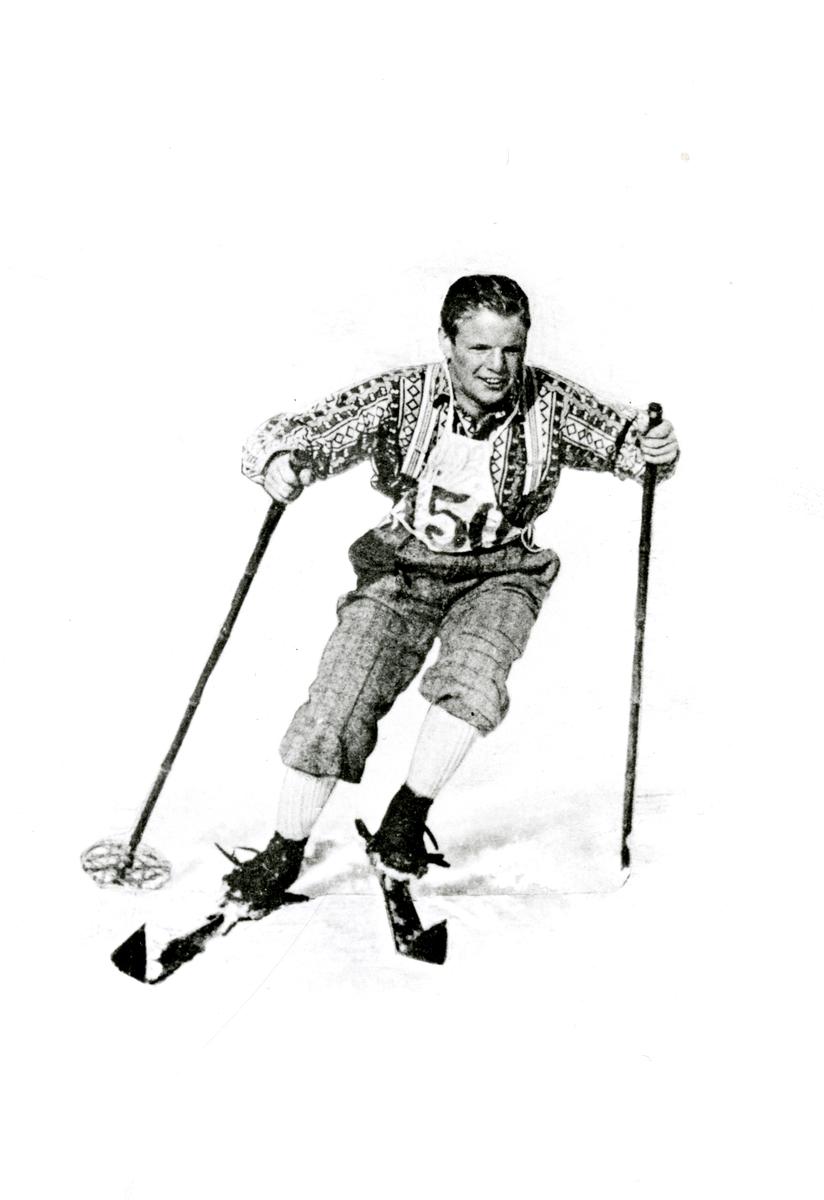 Kongsberg skier Sigmund Ruud in downhill racing