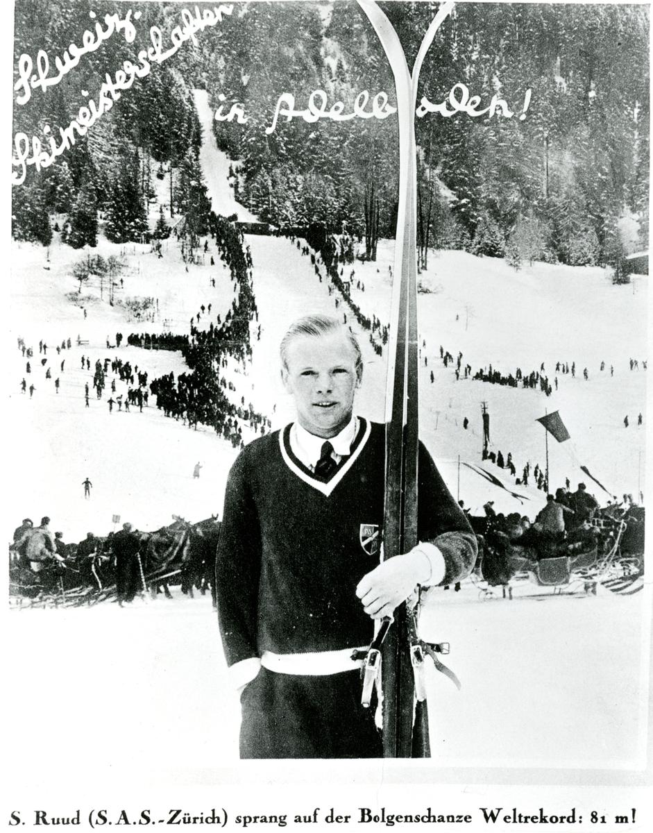 Kongsberg skier Sigmund Ruud sat the world record in Belgenschanze