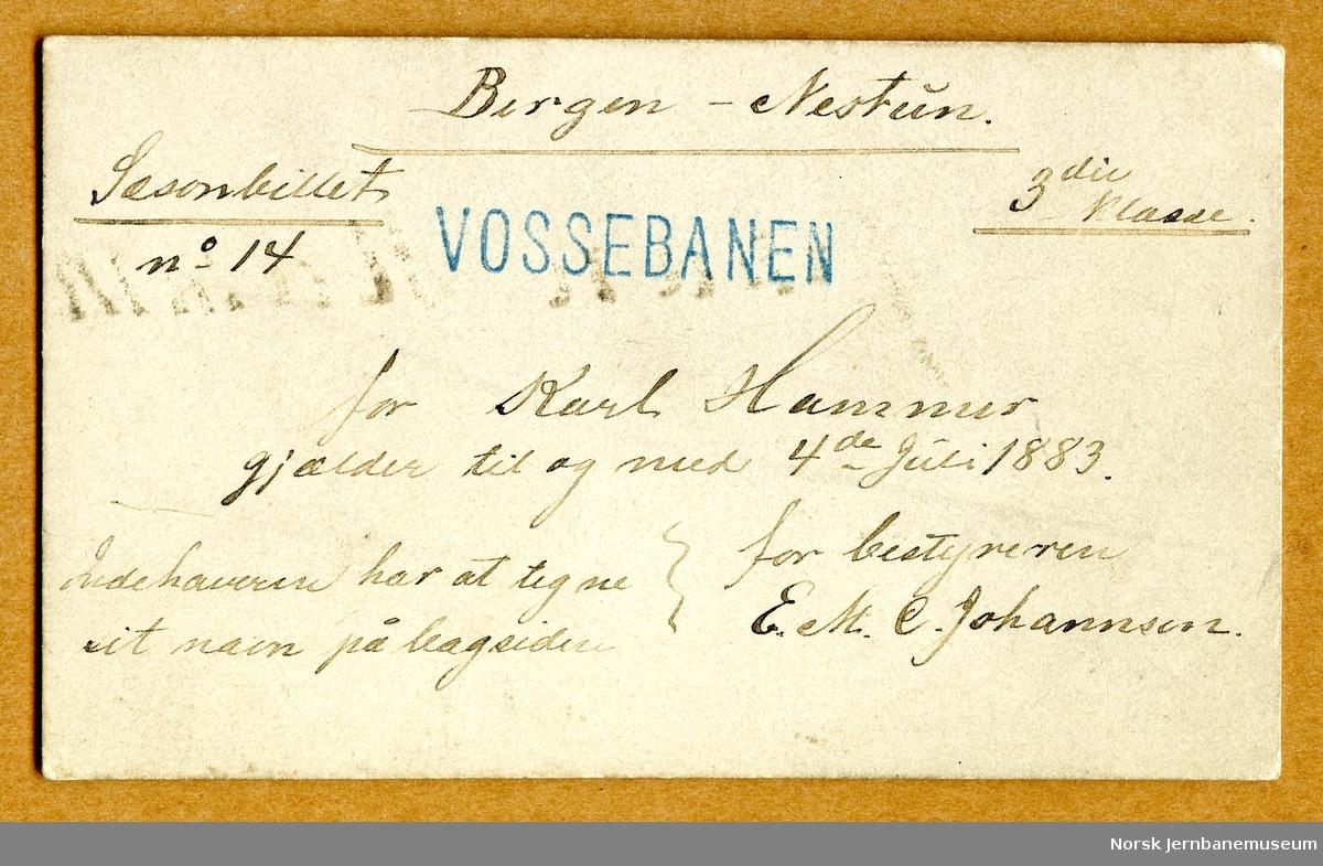 Vossebanen, sesongbillett Bergen-Nestun