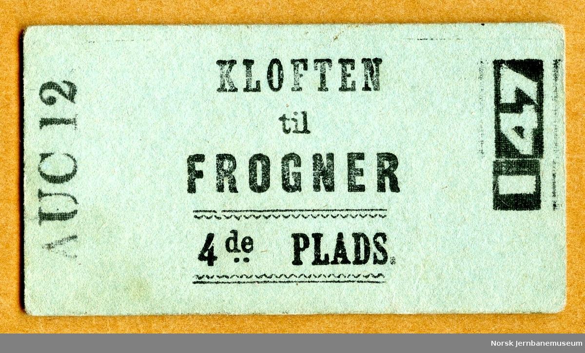Billett Kløften-Frogner, 4de Plads