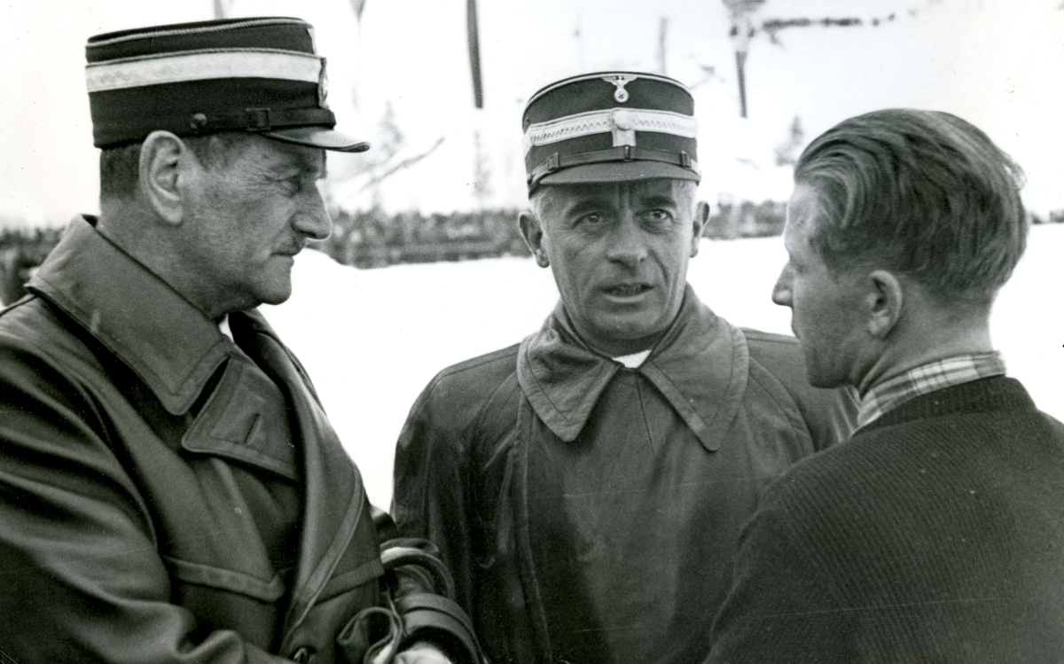 Birger Ruud in conversation with Nazi-officials at Garmisch
