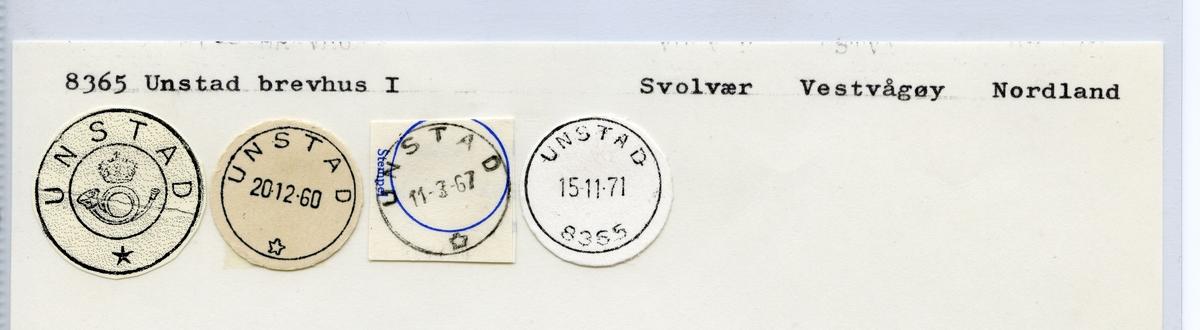Stempelkatalog 8365 Unstad, Svolvær, Vestvågøy, Nordland