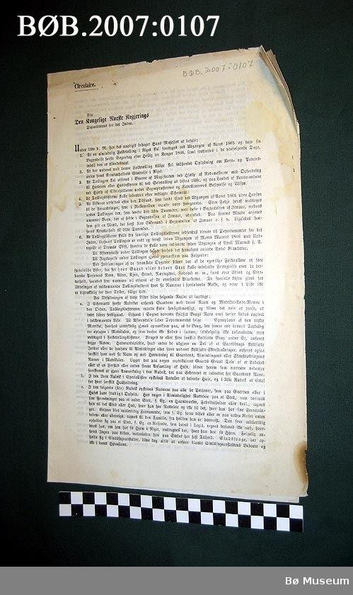 Cirkularie, folketeljinga 1865. Gotisk skrift.