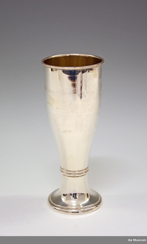 Sølvpokal uten innskrift. Stempel 830S (merke: Magnus Aase, Bergen)