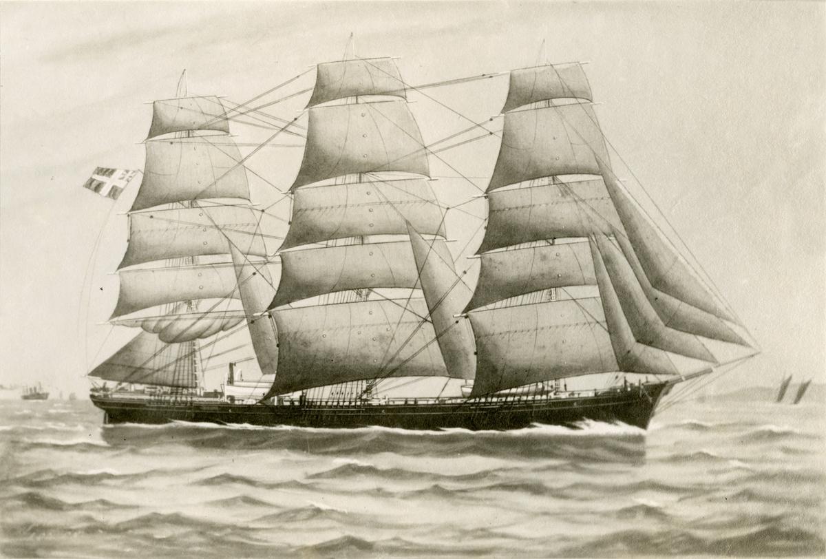 Skipsportrett av fullrigger 'Bellevue' (b.1875)