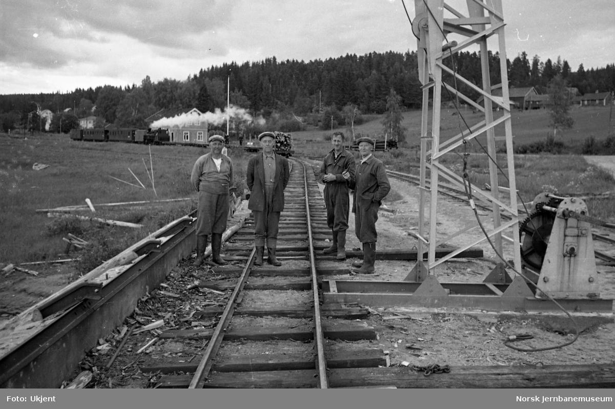 Ved tømmerkranen på Skulerud stasjon