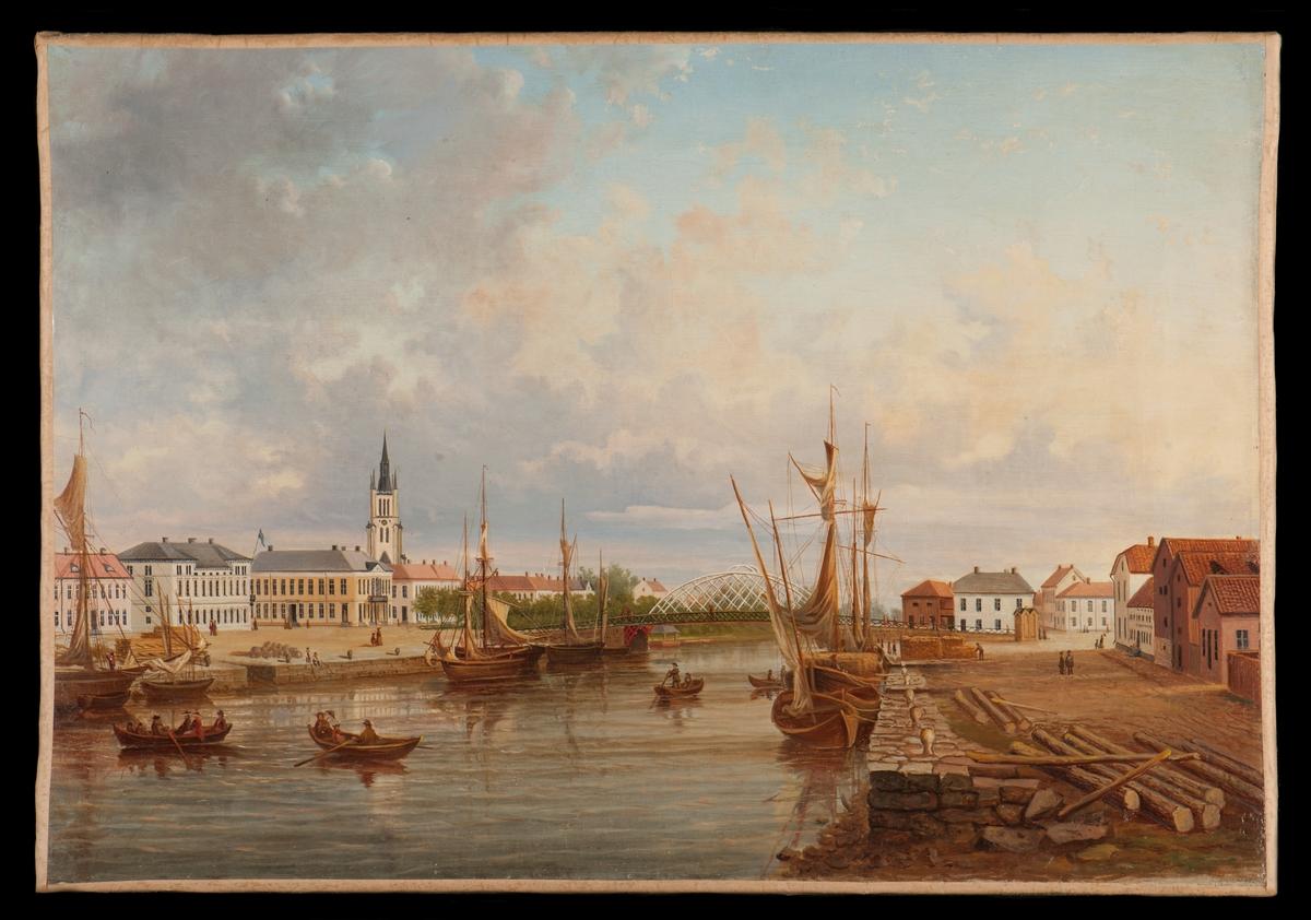 Lidköpings hamn under senare delen av 1800-talet.