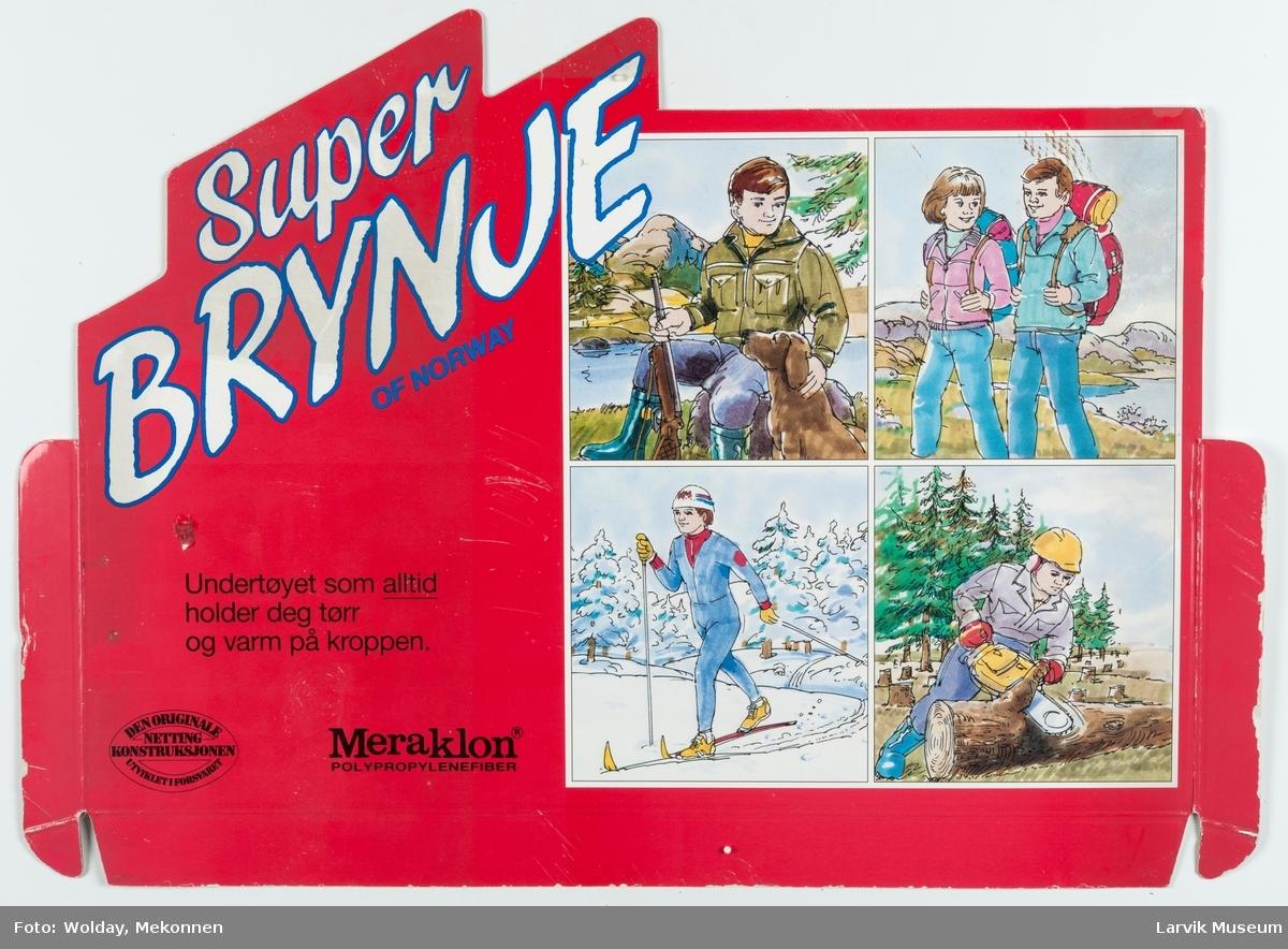 Tekst : Super Brynje of Norway. Meraklon. Undertøyet som alltid holder deg tørr og varm på kroppen. Den originale netting konstruksjonen utviklet i forsvaret.