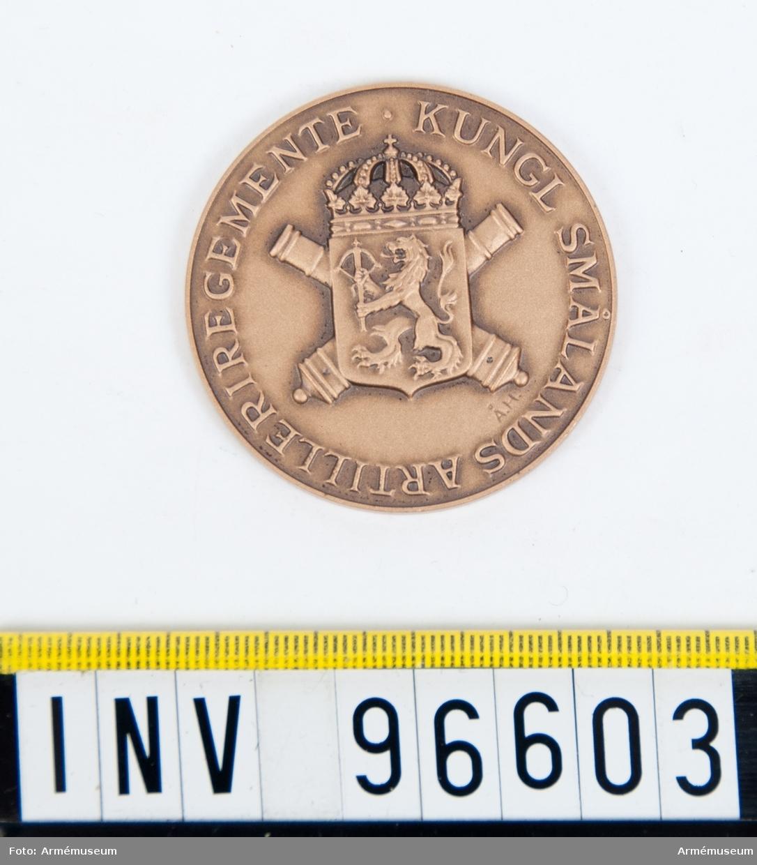 Medalj i brons för Smålands artilleriregemente.
