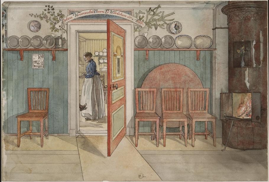 Gamla anna ur ett hem 26 akvareller nationalmuseum for Traditional swedish house plans