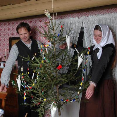Julepyntet stue på Enerhaugen 2005