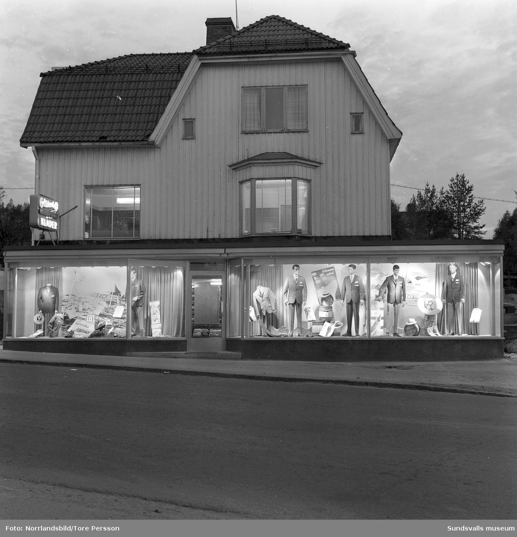 Olssons herrekipering på Köpmangatan 49 i Timrå, exteriör- och interiörbilder.